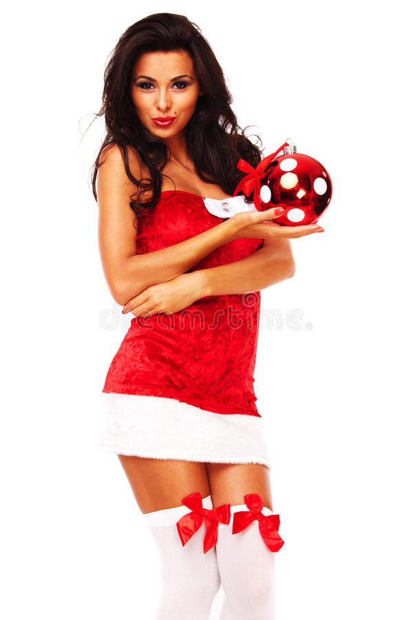 Download Santa Helper Girl On White Background Stock Photo - Image: 26963752