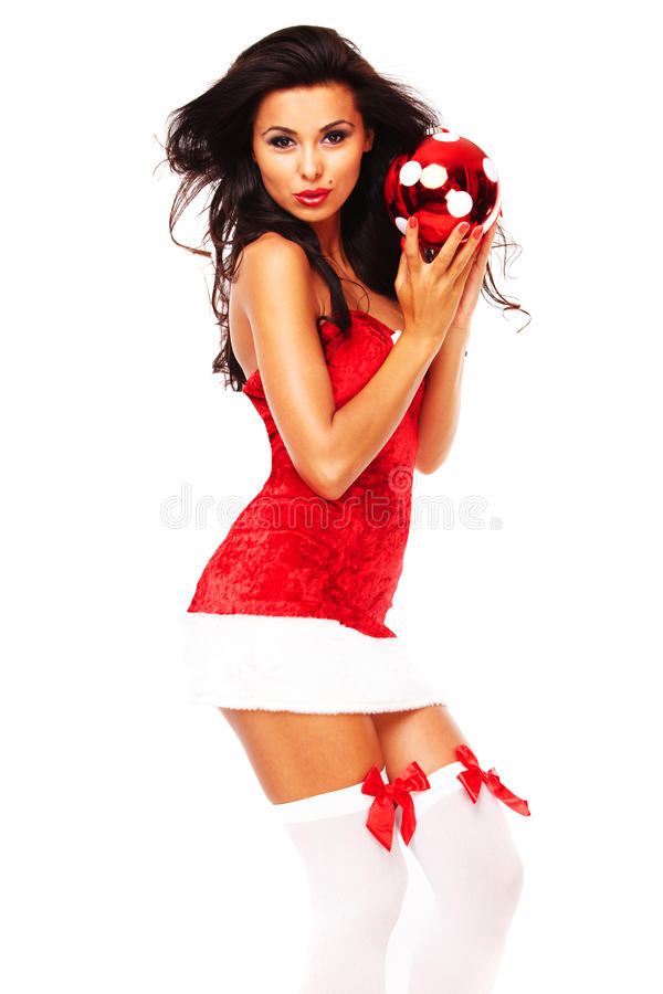 Download Santa Helper Girl On White Background Stock Photo - Image: 26963898