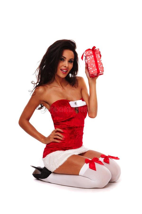 Santa helper girl on white background stock photography