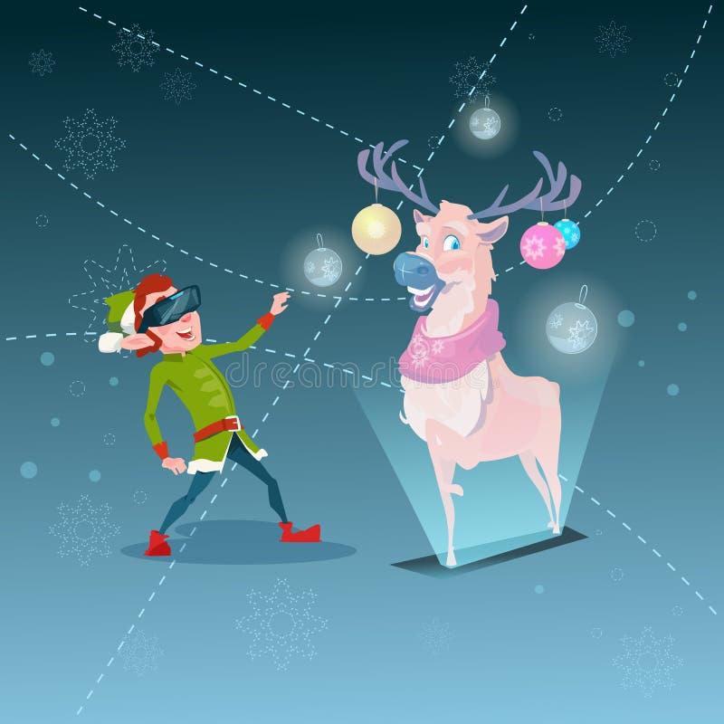 Santa Helper Green Elf Wear Digital exponeringsglas ser faktiskt år för glad jul för ren lyckligt nytt vektor illustrationer