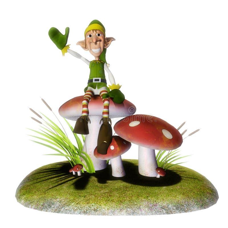 Santa helper on mushrooms island royalty free illustration