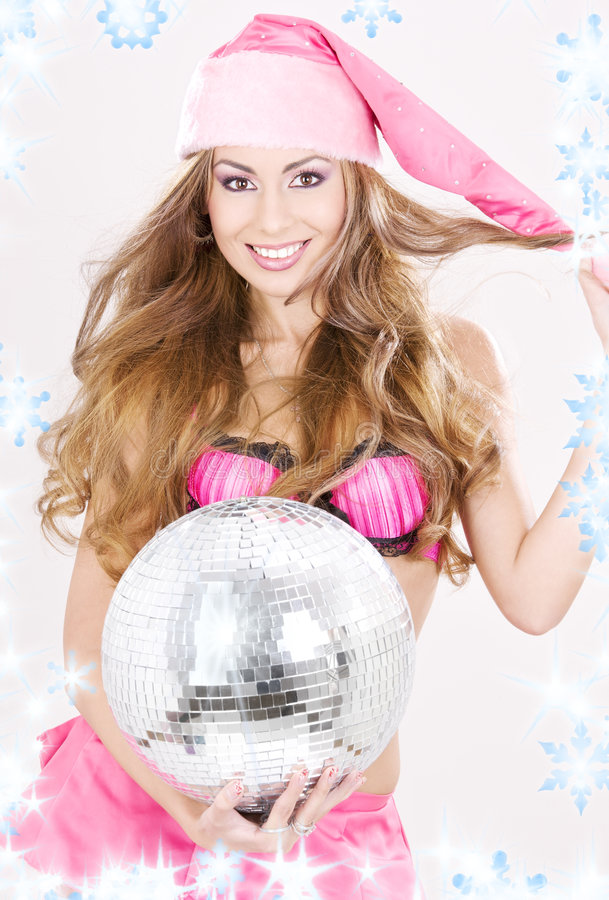 Download Santa Helper In Pink Lingerie With Disco Ball Stock Image - Image: 6792375