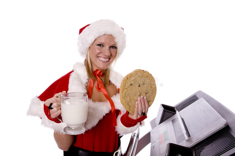 Download Santa Helper With Smile Cookie And Mild Stock Photo - Image: 11940174