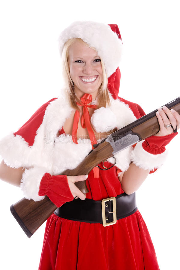 Santa helper with smile and gun