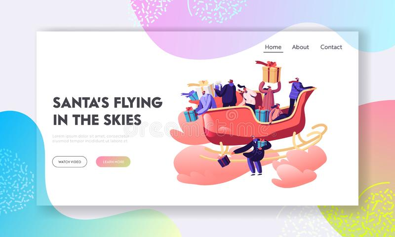 Santa Helpers Festive Greeting Website Landing Page. Happy People Sitting in Sled Flying by Sky Throw Gifts. And Presents on Ground. Xmas Celebration Web Page royalty free illustration