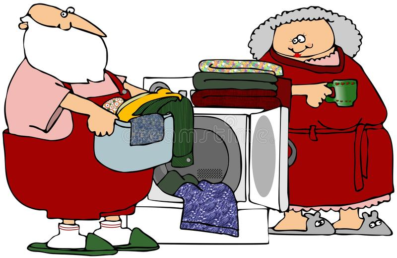 Santa Helping With Laundry vector illustration