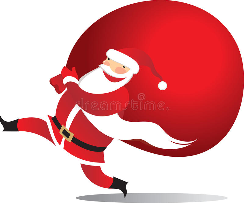 Santa heureuse avec le sac illustration libre de droits