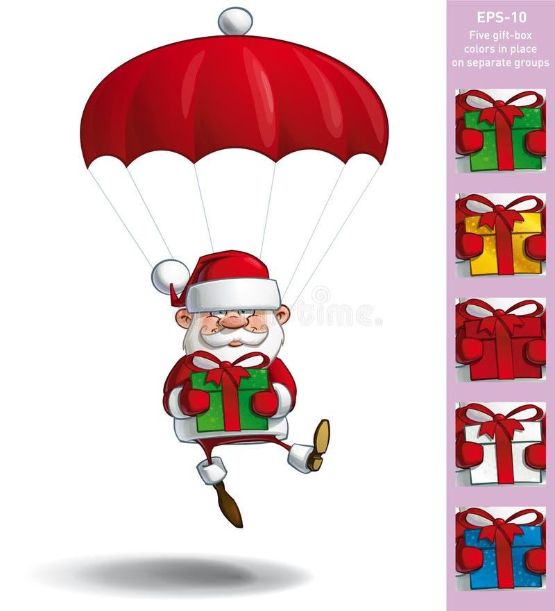 Santa heureuse - parachute tenant des cadeaux illustration de vecteur