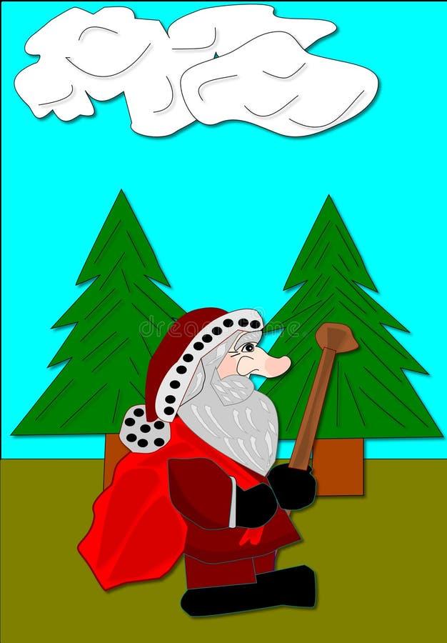 Santa Hiking royalty free stock photography