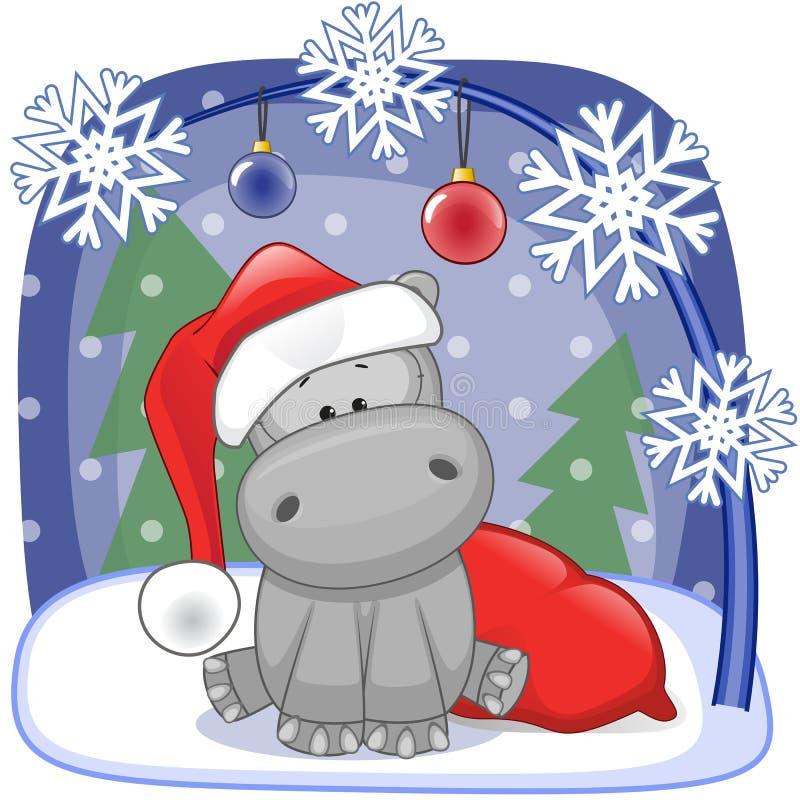 Santa Hippo stock de ilustración
