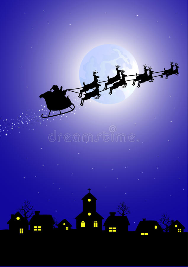 Download Santa in his deer sled stock vector. Image of rural, nature - 17270862
