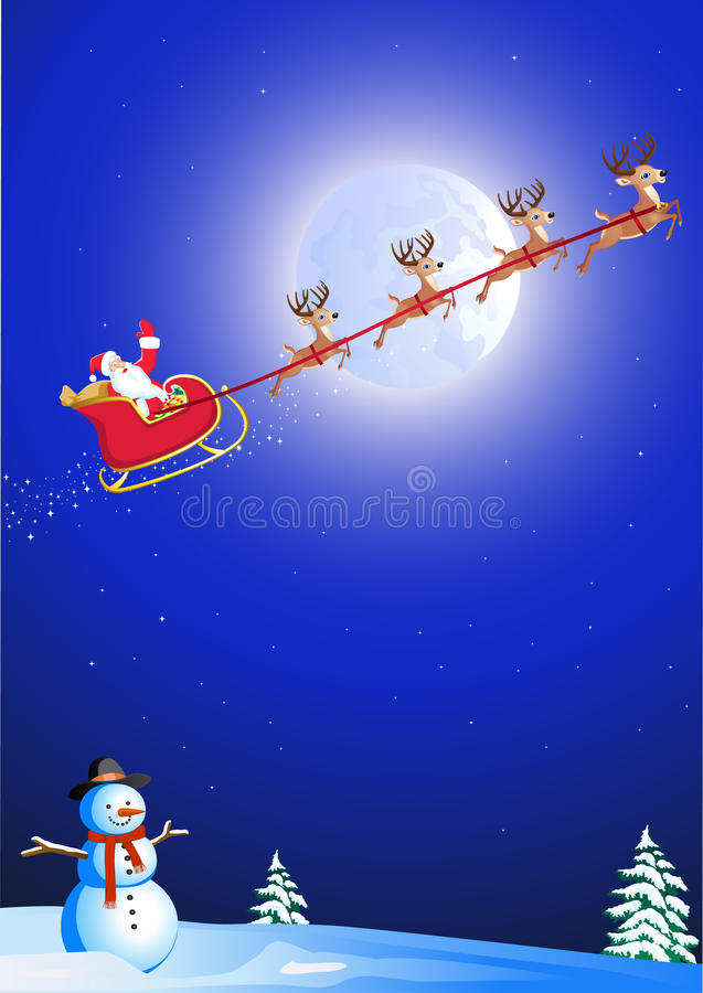 Download Santa in his deer sled stock vector. Image of happy, background - 17285016