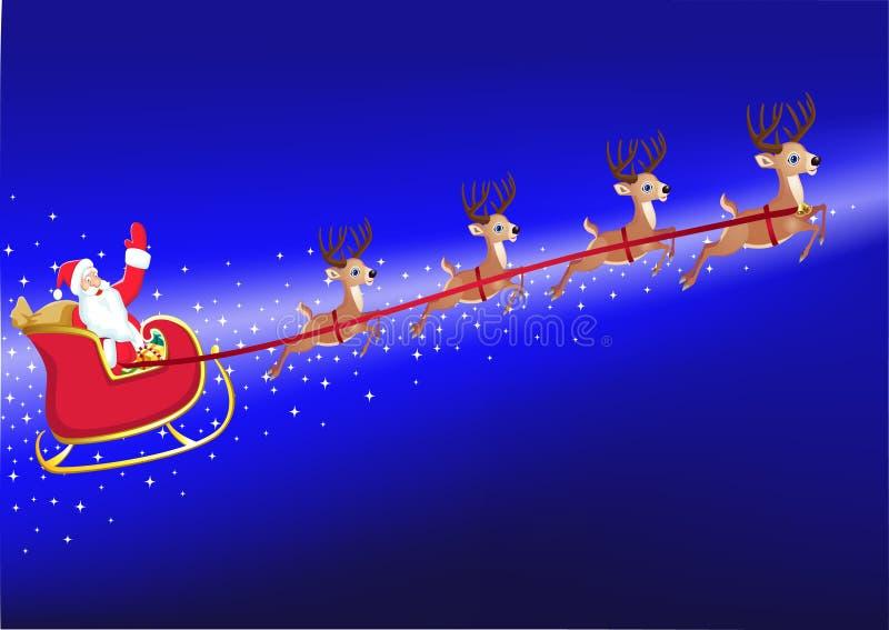 Download Santa in his deer sled stock vector. Image of cartoon - 17287692