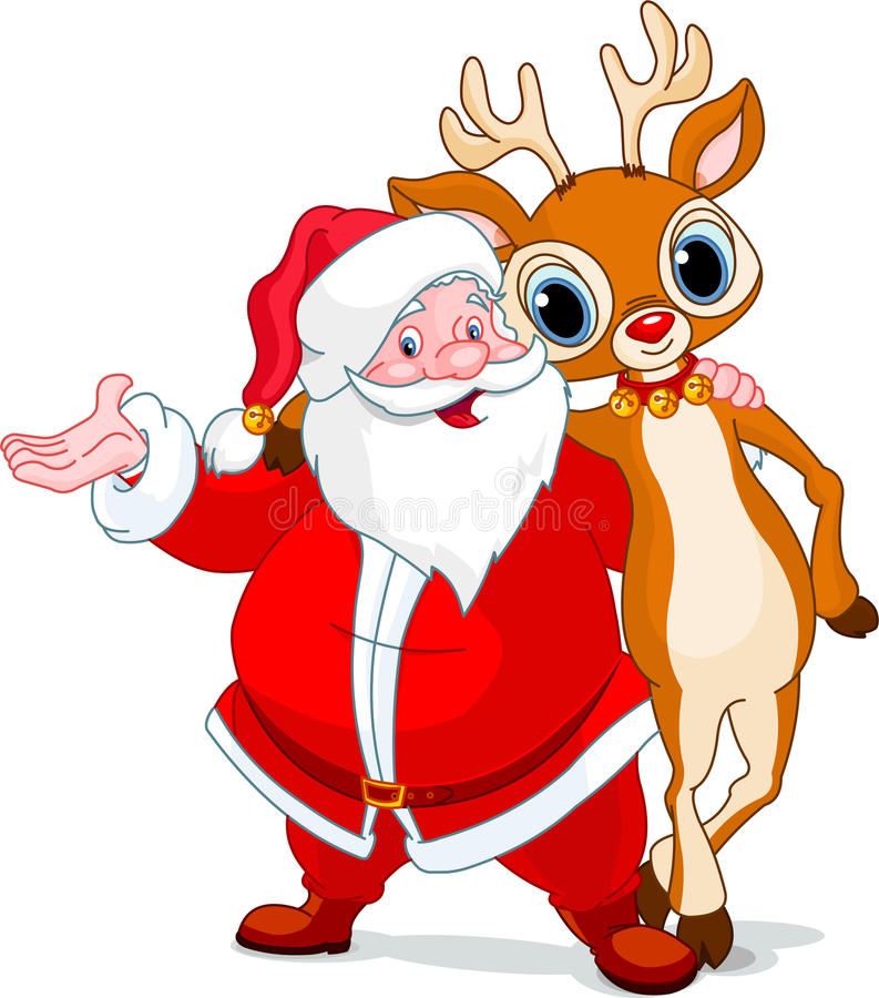 Santa and his reindeer Rudolf stock illustration