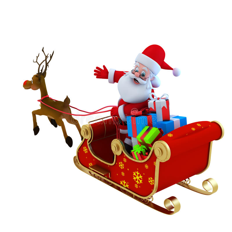 Download Santa with his sleigh stock illustration. Image of celebration - 22252638