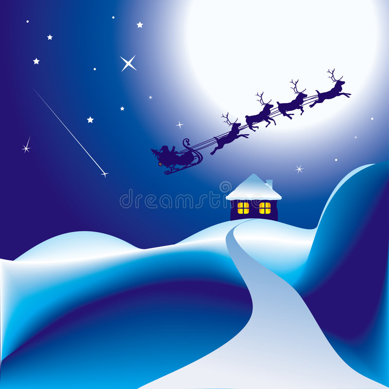 Download Santa and his sleigh stock vector. Image of antler, natale - 7452857