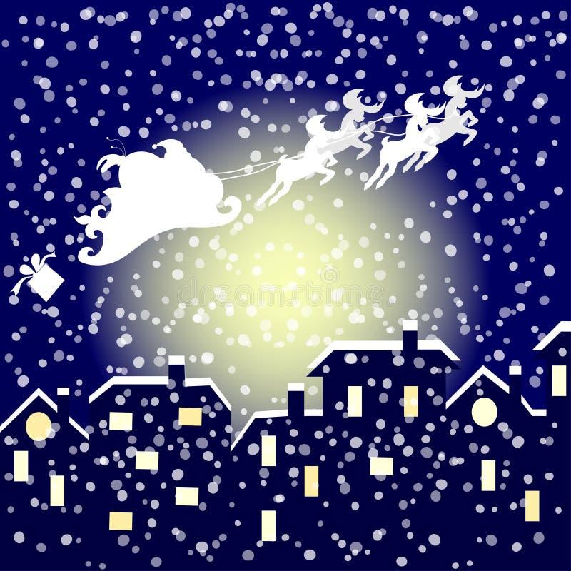 Santa In His Sleigh Flying over de Stad royalty-vrije illustratie