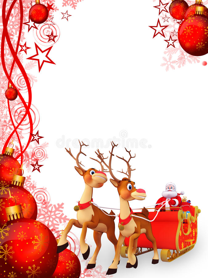 Santa And His Sleigh With Red Background Stock Images