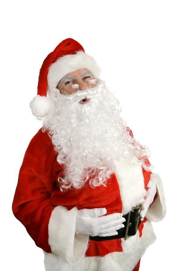 Santa Ho Ho Ho. Traditional Santa Claus giving a big ho ho ho belly laugh. Isolated on white