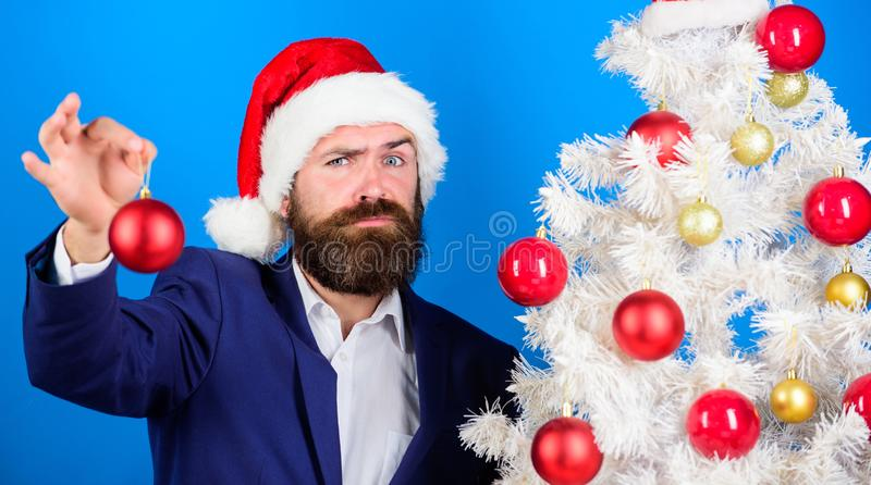 Santa hold christmas ball decoration. Businessman offer you join christmas preparation. Special christmas offer. Man stock images