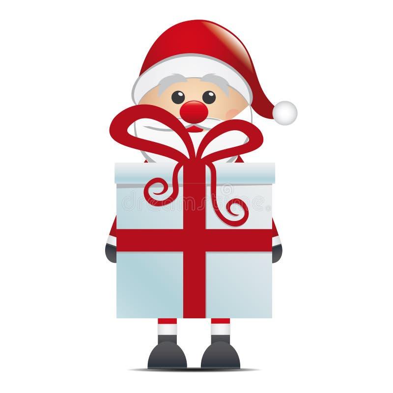 Santa hold gift box. With red ribbon royalty free illustration