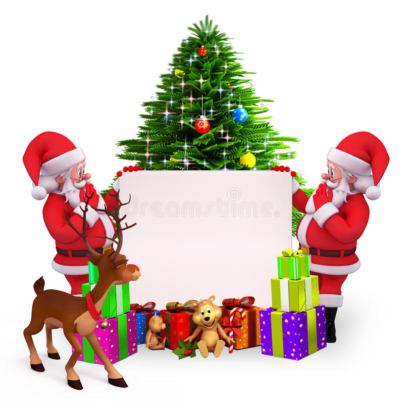 Download Santa Holding A Big Sign With Christmas Tree Stock Illustration - Image: 26669373