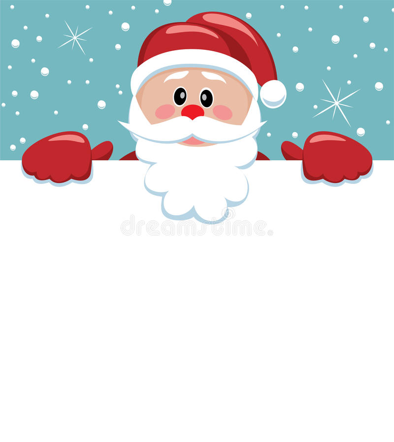 Santa holding blank paper for your text royalty free stock image