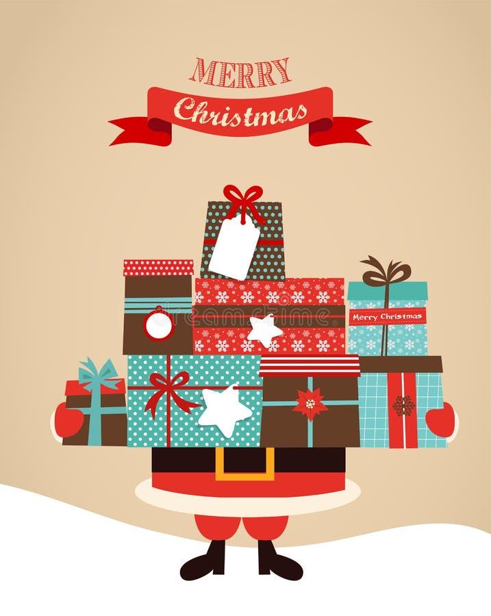 Santa Holding Christmas Gifts. merry Christmas vector illustration