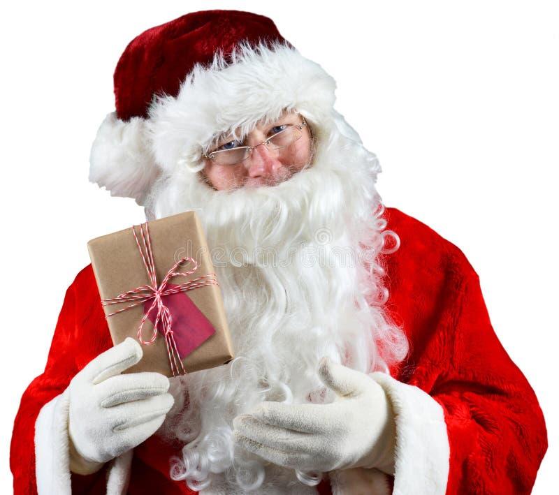 Santa Holding Present fotos de archivo libres de regalías