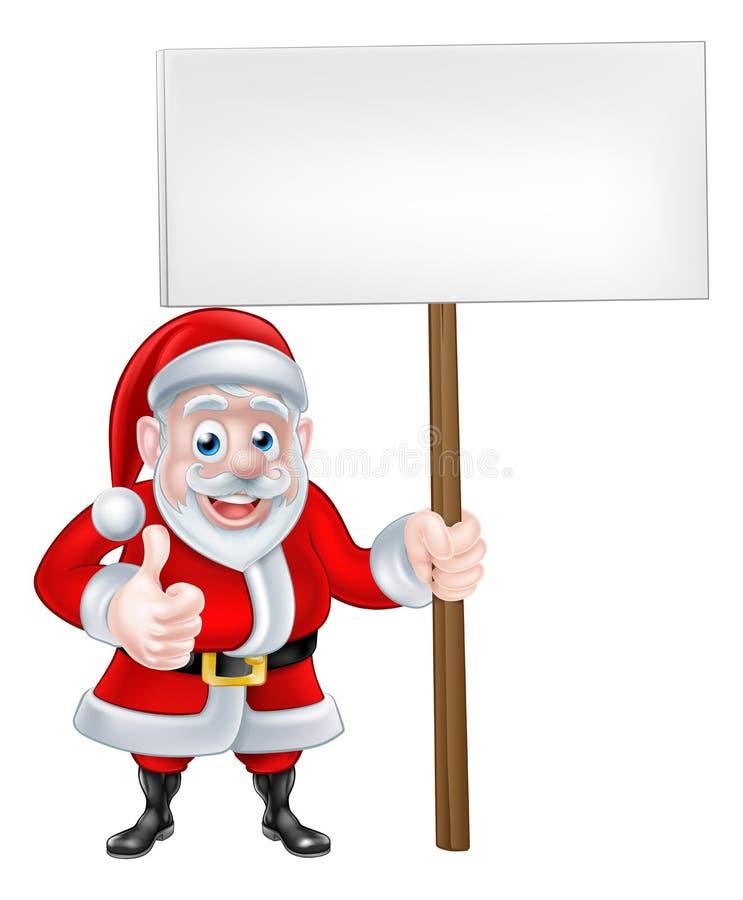 Santa Holding Sign royalty-vrije illustratie