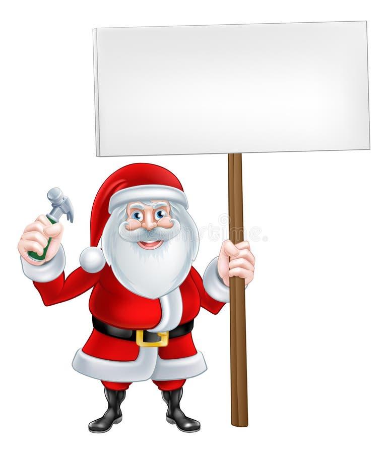 Santa Holding Sign e martelo ilustração stock