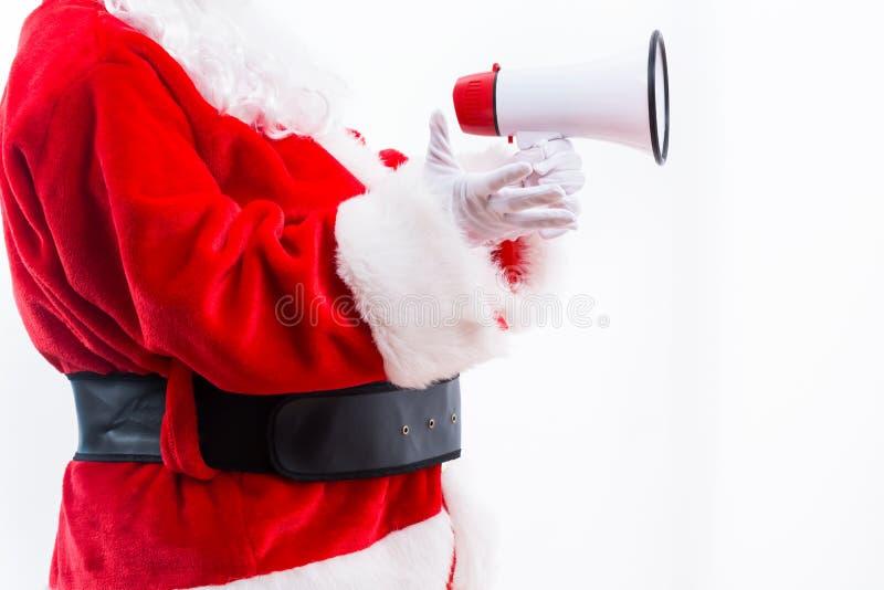 Santa Holding um megafone fotos de stock