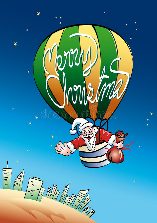 Download Santa in hot air balloon stock vector. Image of merry - 35043325
