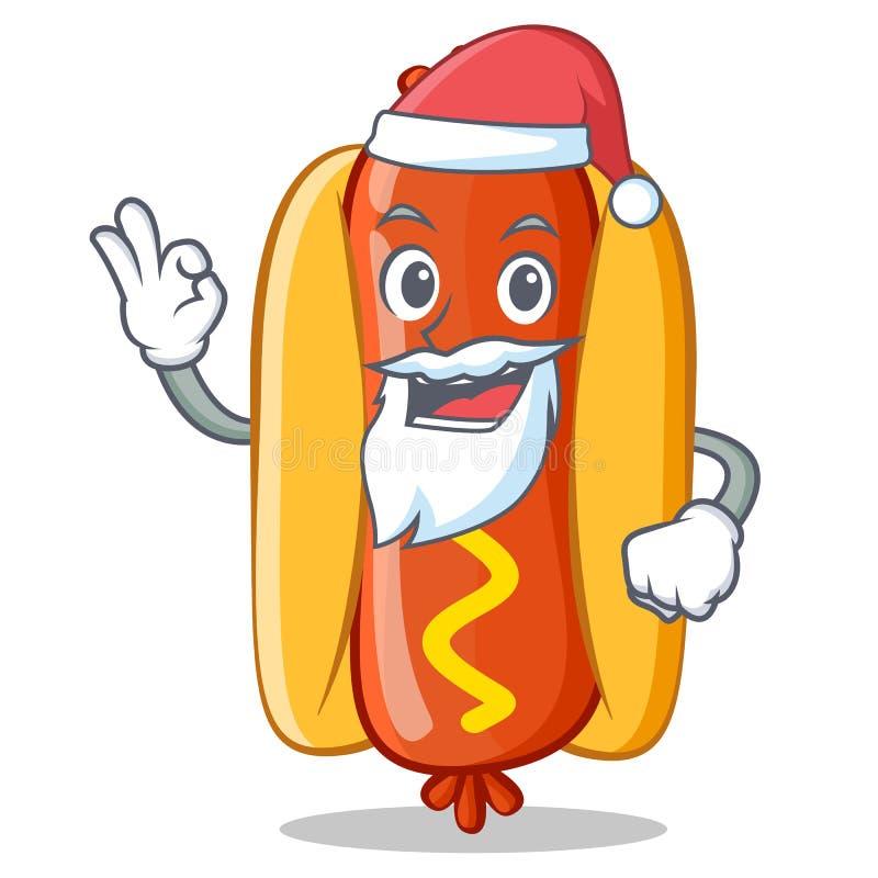 Santa Hot Dog Cartoon Character ilustração do vetor