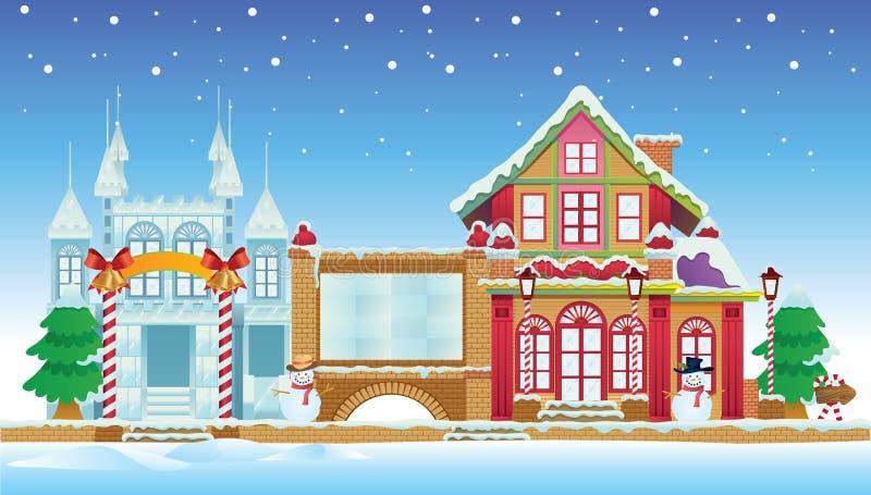 Santa House and Ice Castle vector illustration