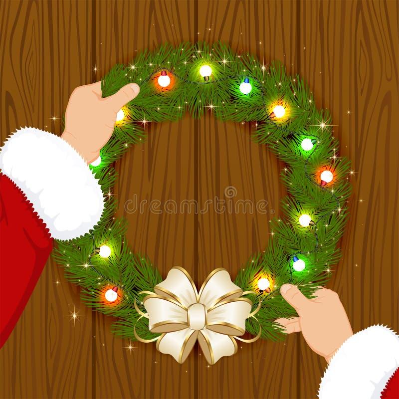 Santa i Bożenarodzeniowa girlanda ilustracji