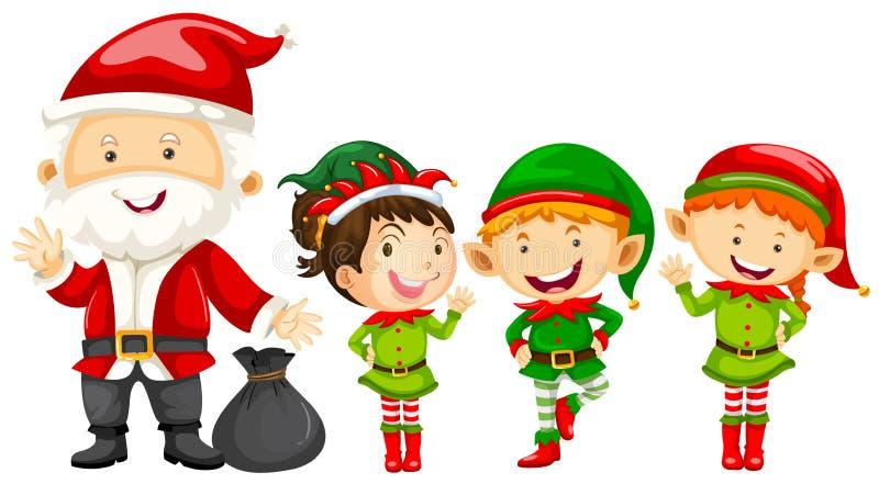 Santa i elfy dla bożych narodzeń ilustracji
