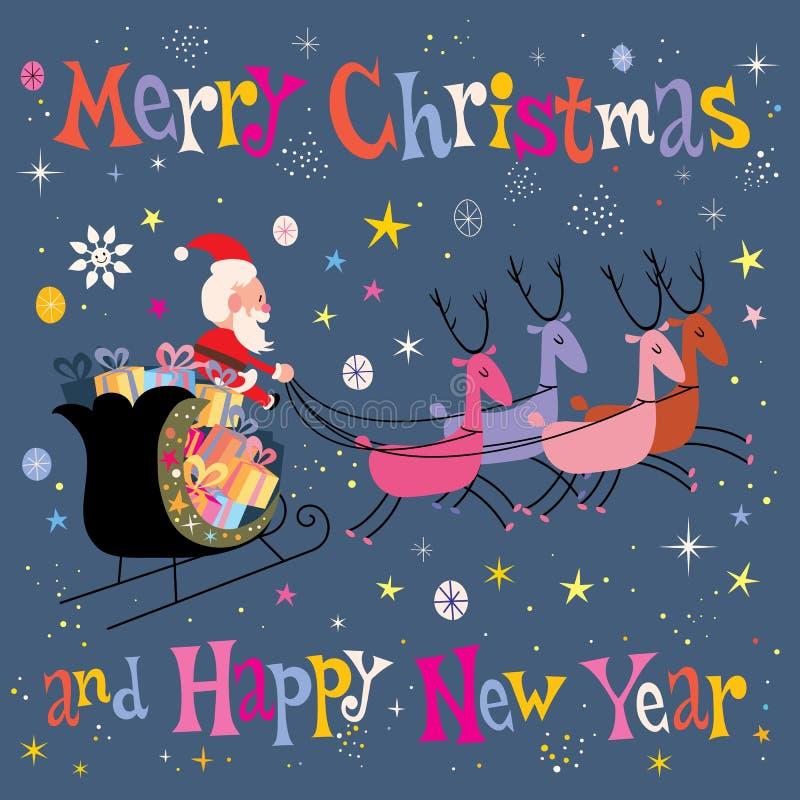 Santa i jego sanie lata Wesoło boże narodzenia i Szczęśliwego nowego roku kartka z pozdrowieniami ilustracja wektor