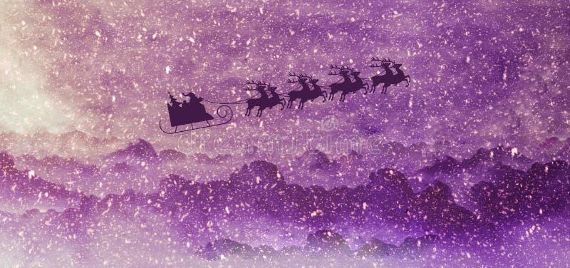 Santa i jeleni flyong na saniu w śnieg ilustrującym zima krajobrazie ilustracji