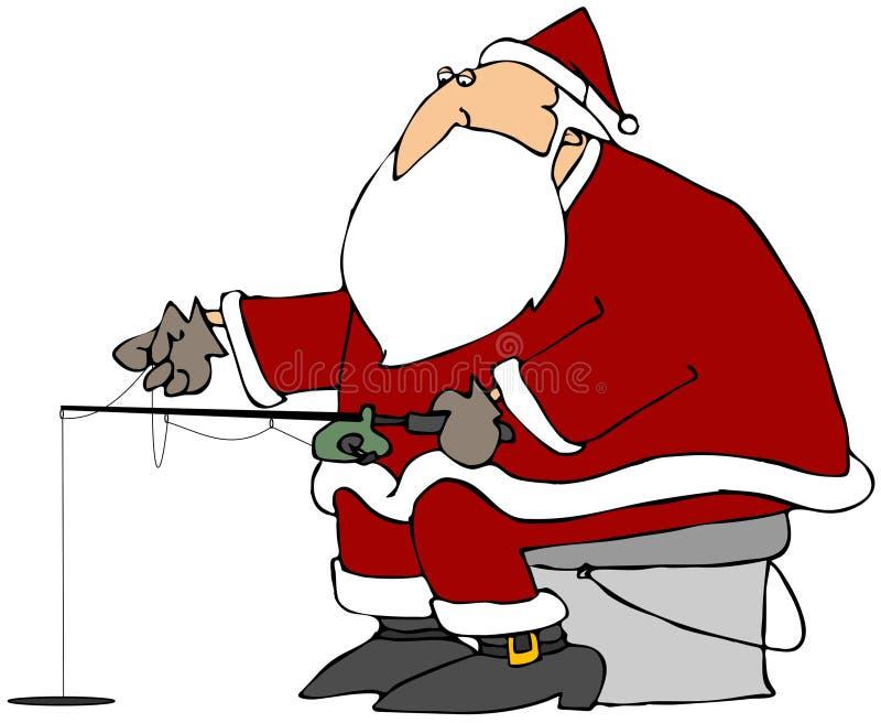 Santa Ice Fishing vector illustration