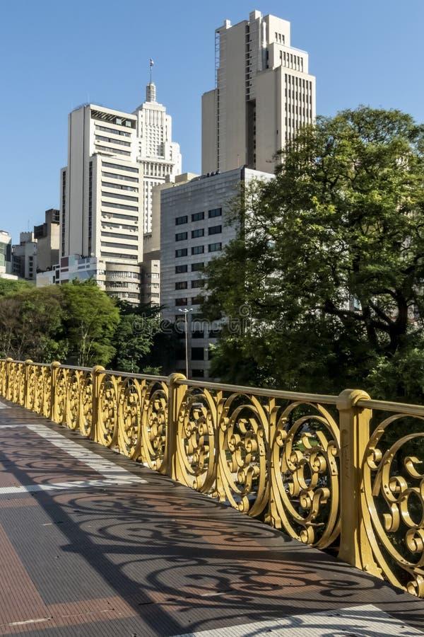 Santa Ifigenia Viaduct. And skyline of Sao Paulo royalty free stock images