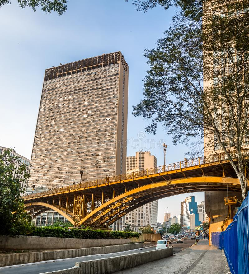 Santa Ifigenia Viaduct - Sao Paulo, Brasil imagem de stock
