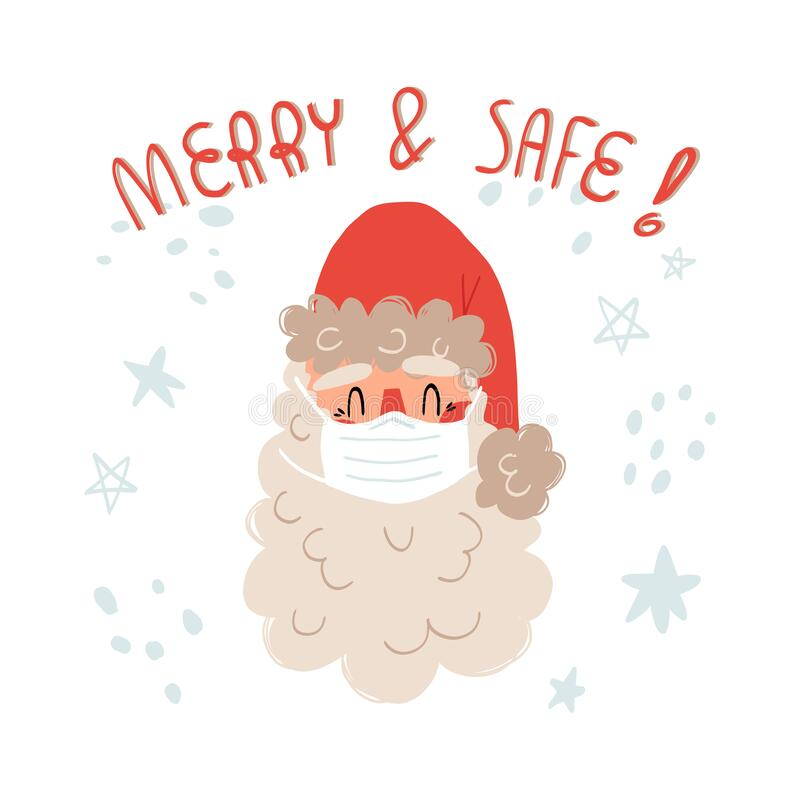 Free Santa In Medical Face Mask, Merry And Safe Lettering. COVID-19 Healthcare During Christmas Holidays Concept. Royalty Free Stock Images - 193291899