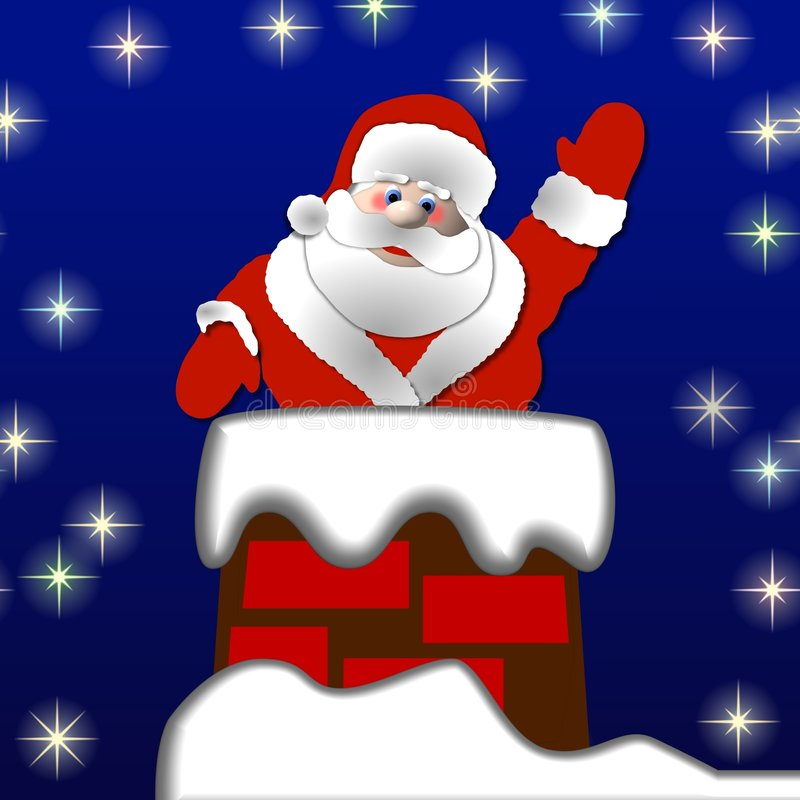 Free Santa In The Chimney Stock Photography - 6860952