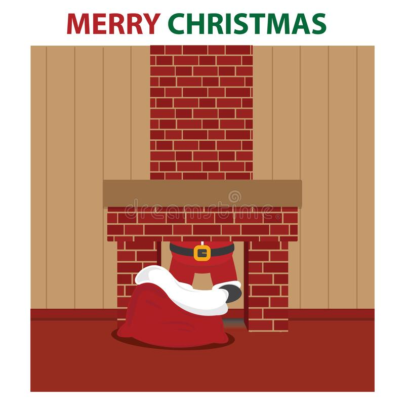 Free Santa In The Chimney. Vector Illustration Decorative Design Stock Photography - 191152952