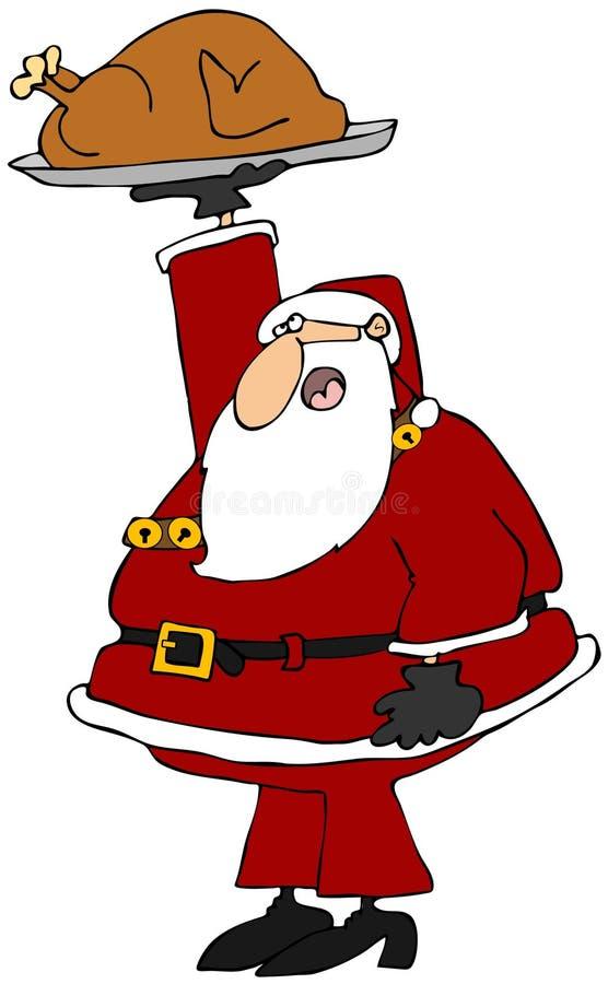 Santa innehav upp en grillad kalkon royaltyfri illustrationer