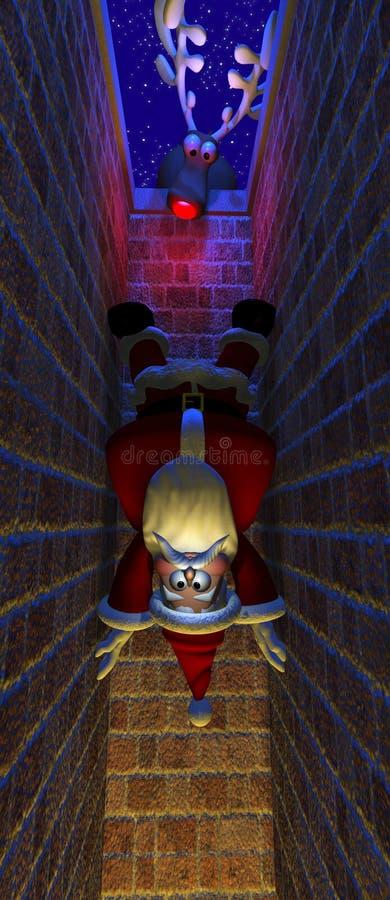Santa Inside Chimney ilustración del vector
