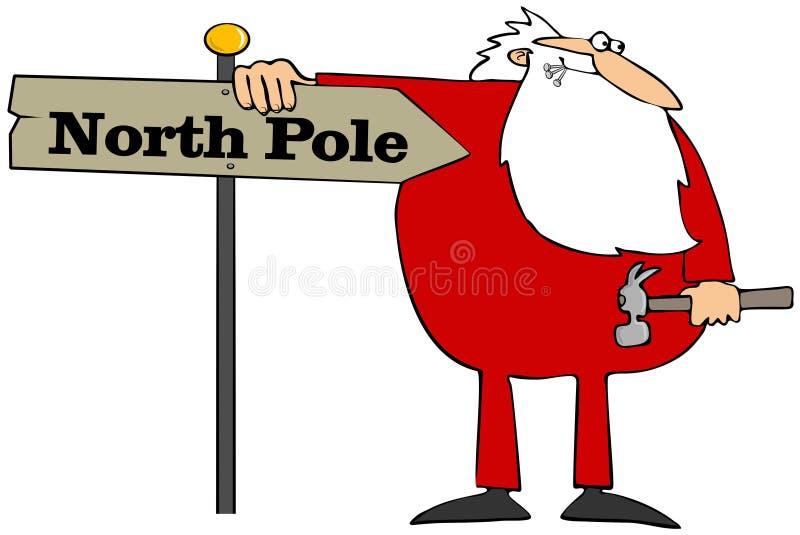 Santa installing a North Pole sign stock illustration