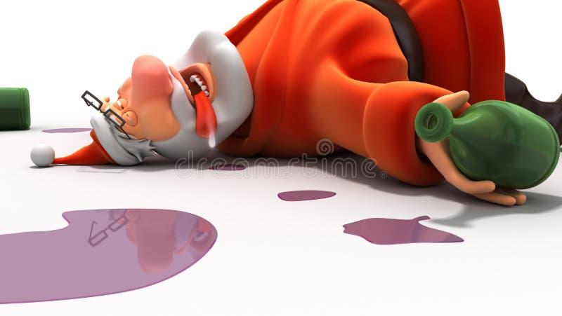Santa ivre illustration de vecteur