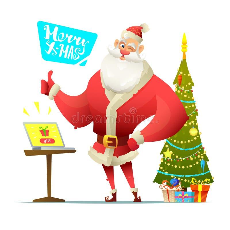 Santa jest pokazywać aprobaty witamy w święta bożego karty wesoło Na stole stoi laptop z guzika prezentem na ekranie ilustracja wektor